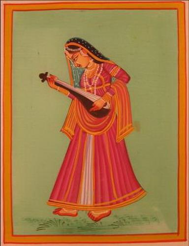 miniature peinture sur soie femme musicienne inde