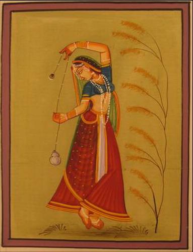 miniature peinture sur soie danseuse dans la nature inde
