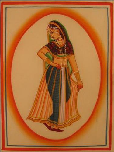 miniature peinture sur soie femme inde