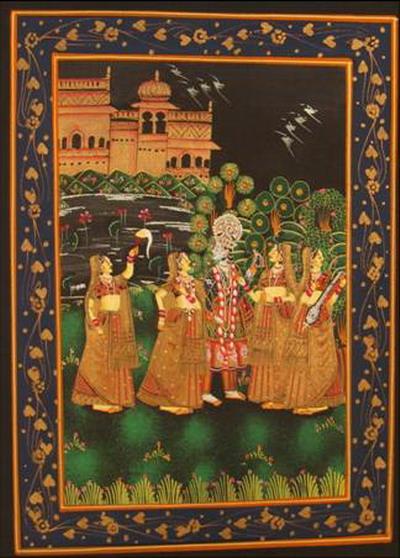 miniature peinture sur soie or femmes et prince dans jardin la nuit inde