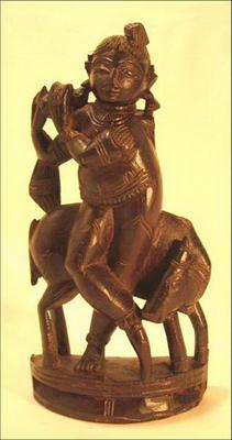 figurine poupee bois antiquite dieu krisna joue de la flûte inde