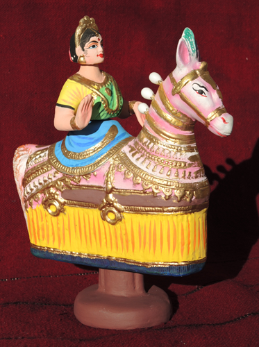 figurine poupée danseuse cheval bollywood papier maché Inde