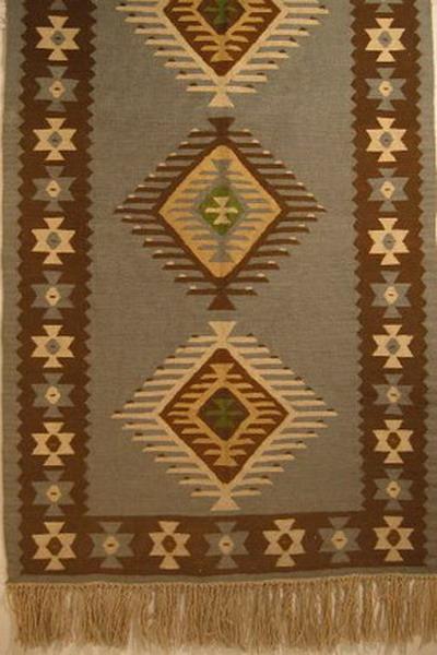 tapis kilim coton laine decor geometrique fond bleu bulgarie