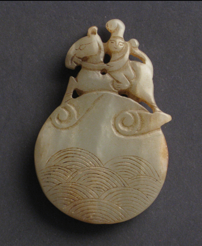 sculpture jade blanc antiquite bijou cavalier sur disque nuage chine