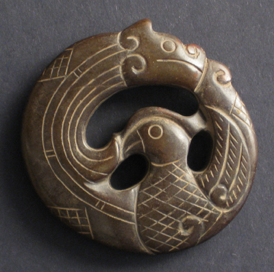 sculpture jade brun antiquite bijou dragon phoenix anneau chine