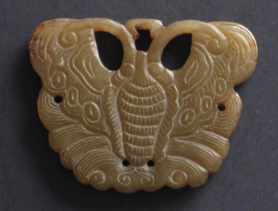 sculpture jade brun antiquite bijou ecran papillon chine