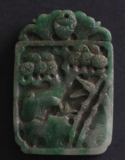 sculpture jade vert antiquite bijou paysage cerisier fleur temple chine
