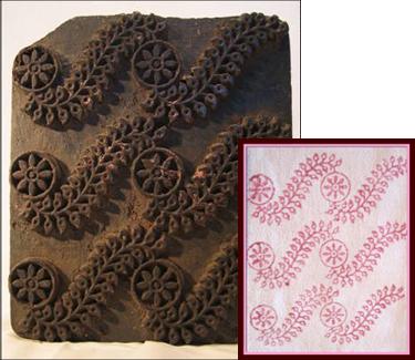 bloc pour imprimer le tissu antiquite inde
