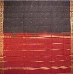 bordure palu sari coton ikat soie broche tisse main rouge bleu or inde