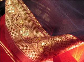 sari coton ikat soie broche tisse main rouge bleu or inde