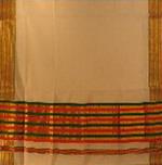 bordure palu sari coton broche tisse main blanc orange vert or inde