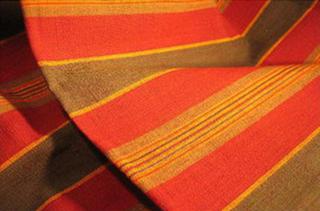 nappe couvre lit rayures madras coton ocre bleu jaune rouge tisse main inde