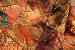 patchwork de soie broche multicolore tisse main inde