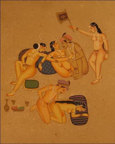 miniature erotique 2 couples 2 femmes peinture vegetale sur papier or inde