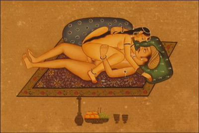 miniature erotique couple peinture vegetale sur papier or inde