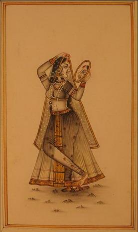 miniature peinture vegetale sur papier femme au miroir inde
