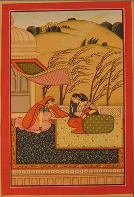 miniature peinture vegetale sur papier or princesse et sa servante dans jardin du palais au vent inde