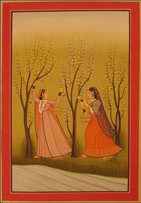 miniature peinture vegetale sur papier or 2 femmes au bord riviere inde