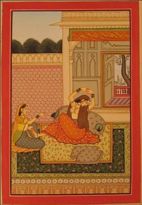 miniature peinture vegetale sur papier or princesse et sa servante dans jardin du palais inde
