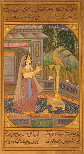 miniature peinture vegetale sur papier or femme a l oiseau dans jardin palais inde