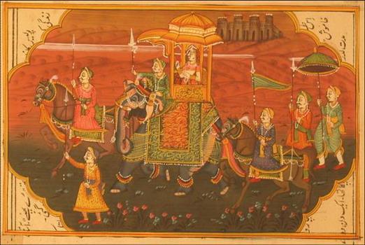miniature peinture vegetale sur papier or princesse dos elephant et cavaliers dans desert inde