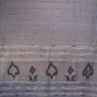 bordure palu sari coton jamdani tisse main bleu blanc inde