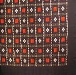 nappe couvre lit ikat detail noir rouge blanc tisse main inde