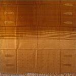 bordure palu sari soie ikat jamdani tisse main caramel dore inde