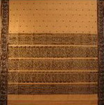 bordure palu sari coton soie broche tisse main brun sur beige inde