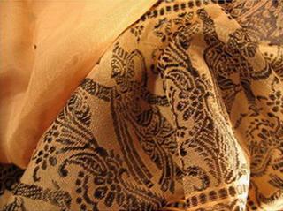 sari coton soie broche tisse main brun sur beige inde