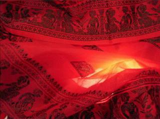 sari coton soie broche tisse main rouge inde