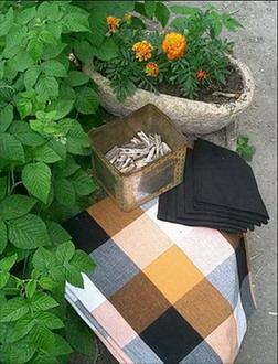 so chic ligne de nappes en madras noir blanc orange avec leurs serviettes noires