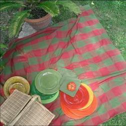 so chic ligne de nappes en madras rouge et vert avec leurs serviettes vertes