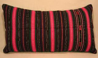 coussin tablier ancien laine tisse main rebrode decor rayures bulgarie