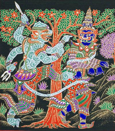 serigraphie du cambodge ramayana