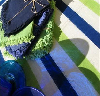 nappe serviettes de table coton ikat tissé main rayures bleu blanc vert inde
