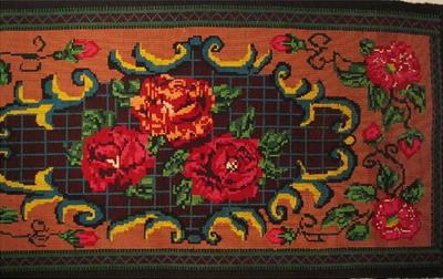 tapisserie brodee laine decor floral bulgarie