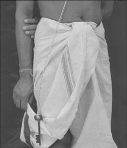 lungi pagne porté par homme sud inde