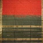 bordure palu sari coton ikat soie broche tisse main rouge vert or inde