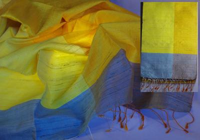 etole soie sauvage tissee main effet chatoyant jaune citron jaune d or cambodge