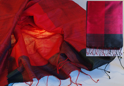 etole soie sauvage tissee main effet chatoyant rouge bordeau cambodge