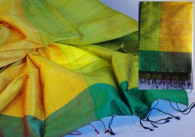 etole soie sauvage tissee main effet chatoyant vert jaune cambodge