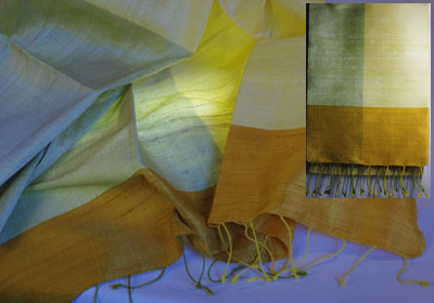 etole soie sauvage tissee main effet chatoyant jaune citron pastel gris vert pastel cambodge