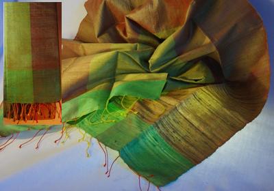 etole soie sauvage tissee main effet chatoyant vert bronze vert tilleul cambodge