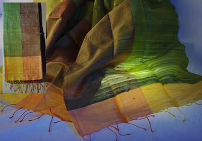 etole soie sauvage tissee main effet chatoyant vert anis vert tilleul cambodge
