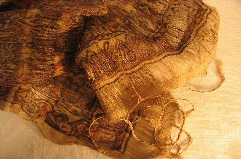 chale soie tisse main meches en carreaux imprime au tampon rouge brun stretch kalamkari inde