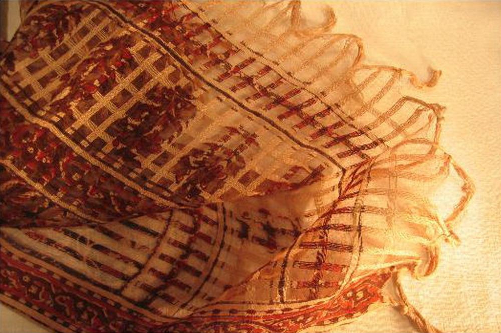 chale soie tisse main imprime floral au tampon rouge brun kalamkari inde