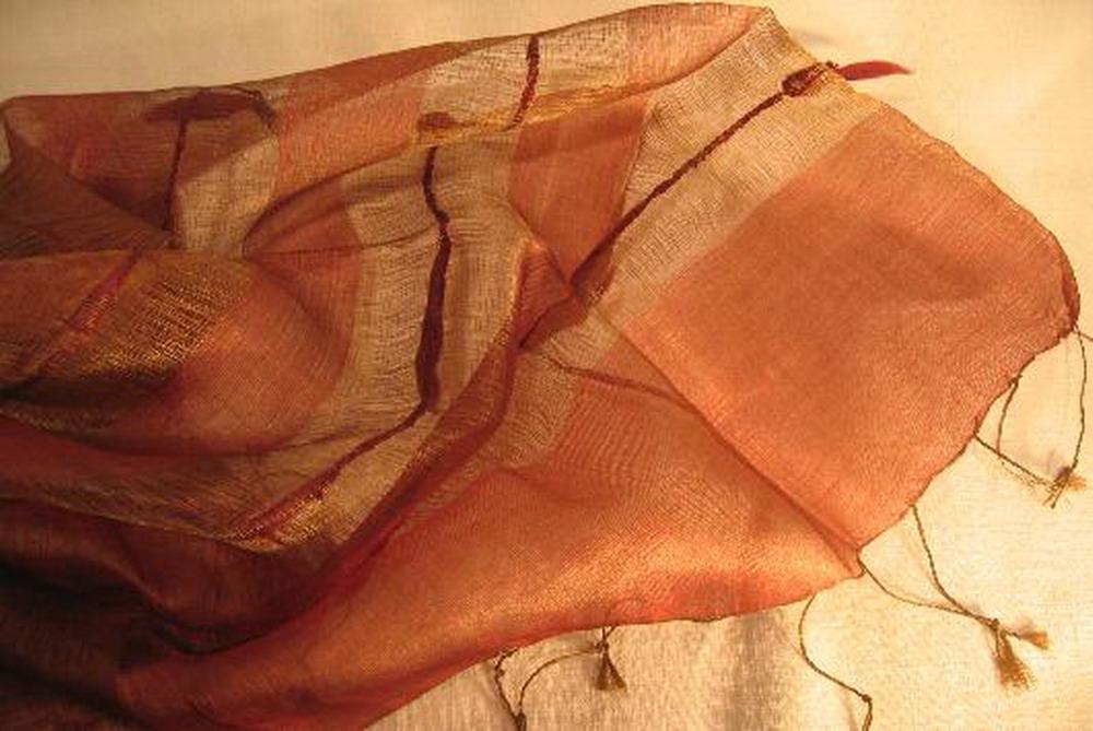 chale soie tisse main prune rayures par mèches inde