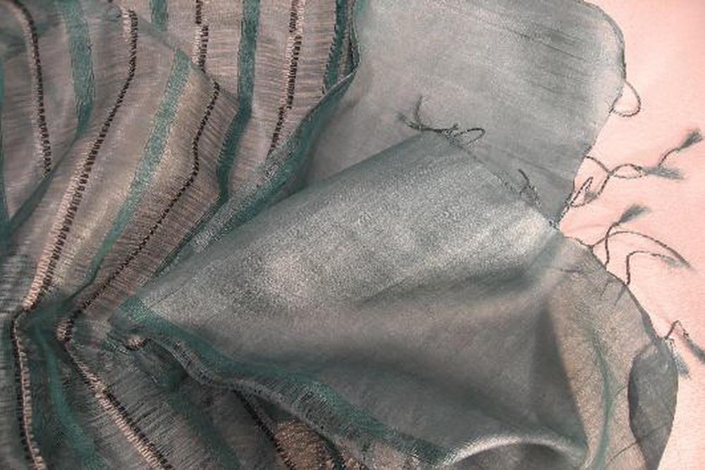 chale soie tisse main gris bleu fines rayures inde