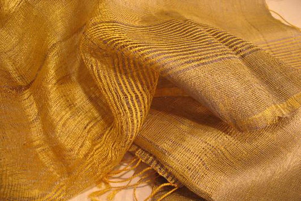 chale soie tisse main mauve dore rayures effet tissage inde